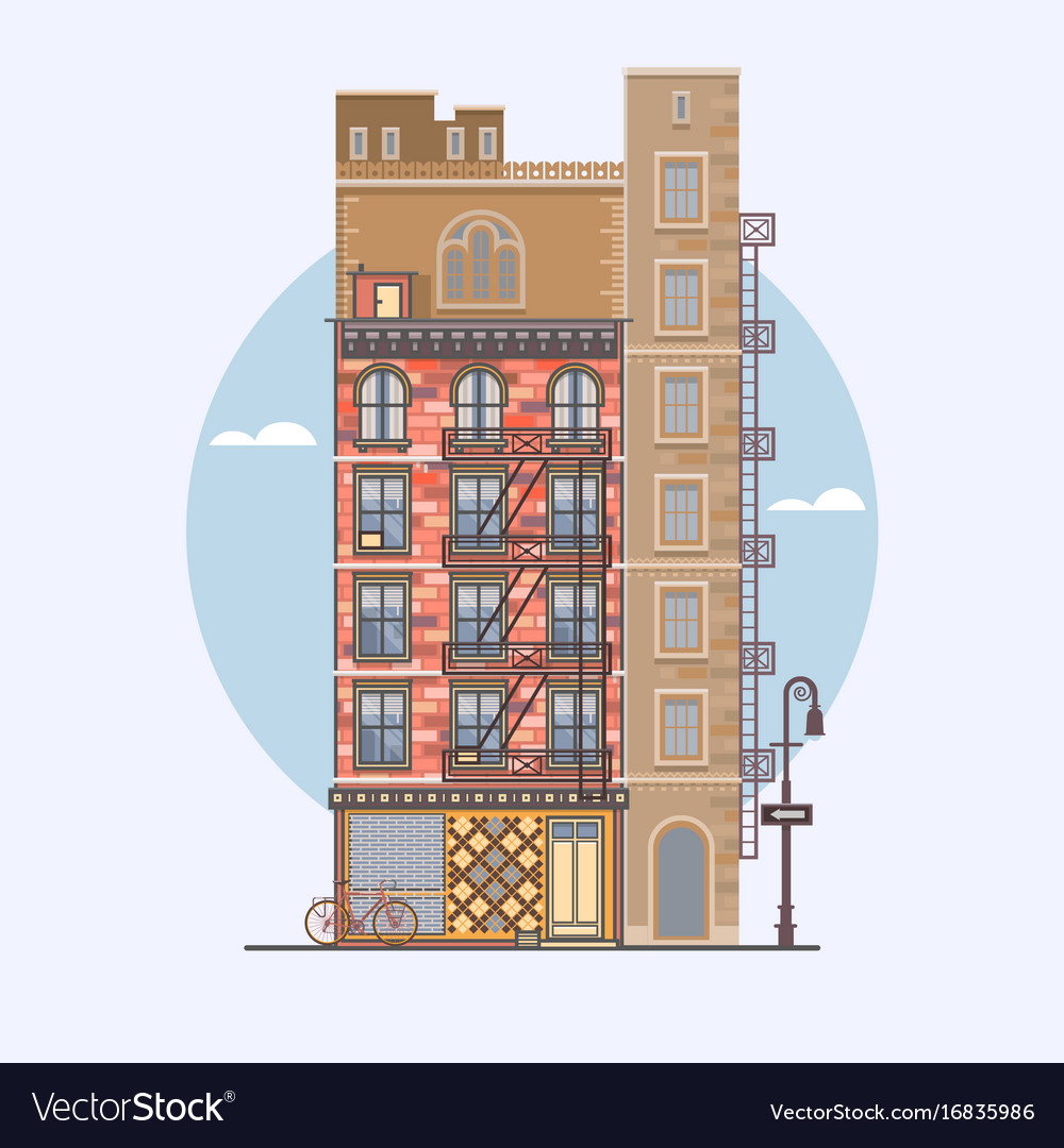 Flat design of retro and modern city houses
