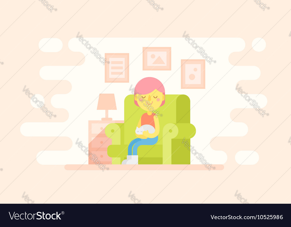 Girl sitting in a cozy armchair with a cat