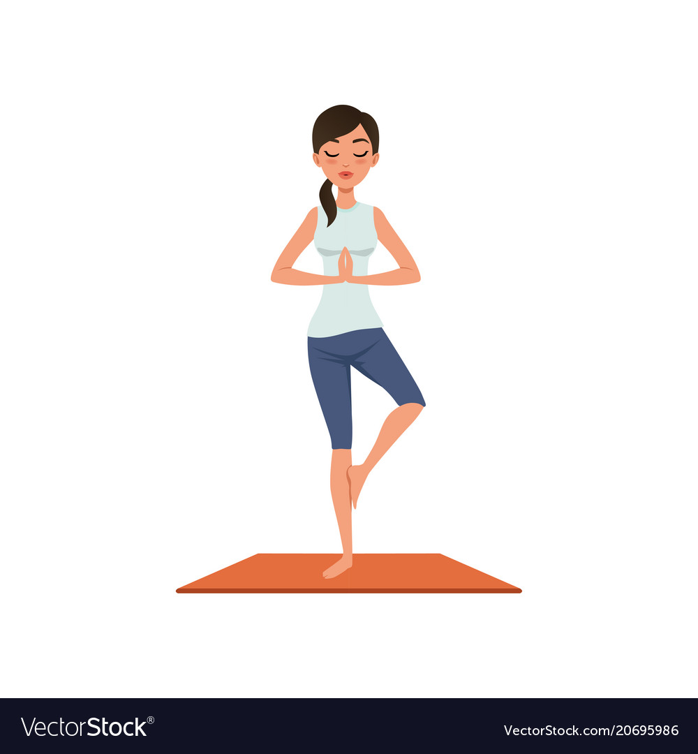 Girl Standing In Tree Pose Yoga Position Vector Image