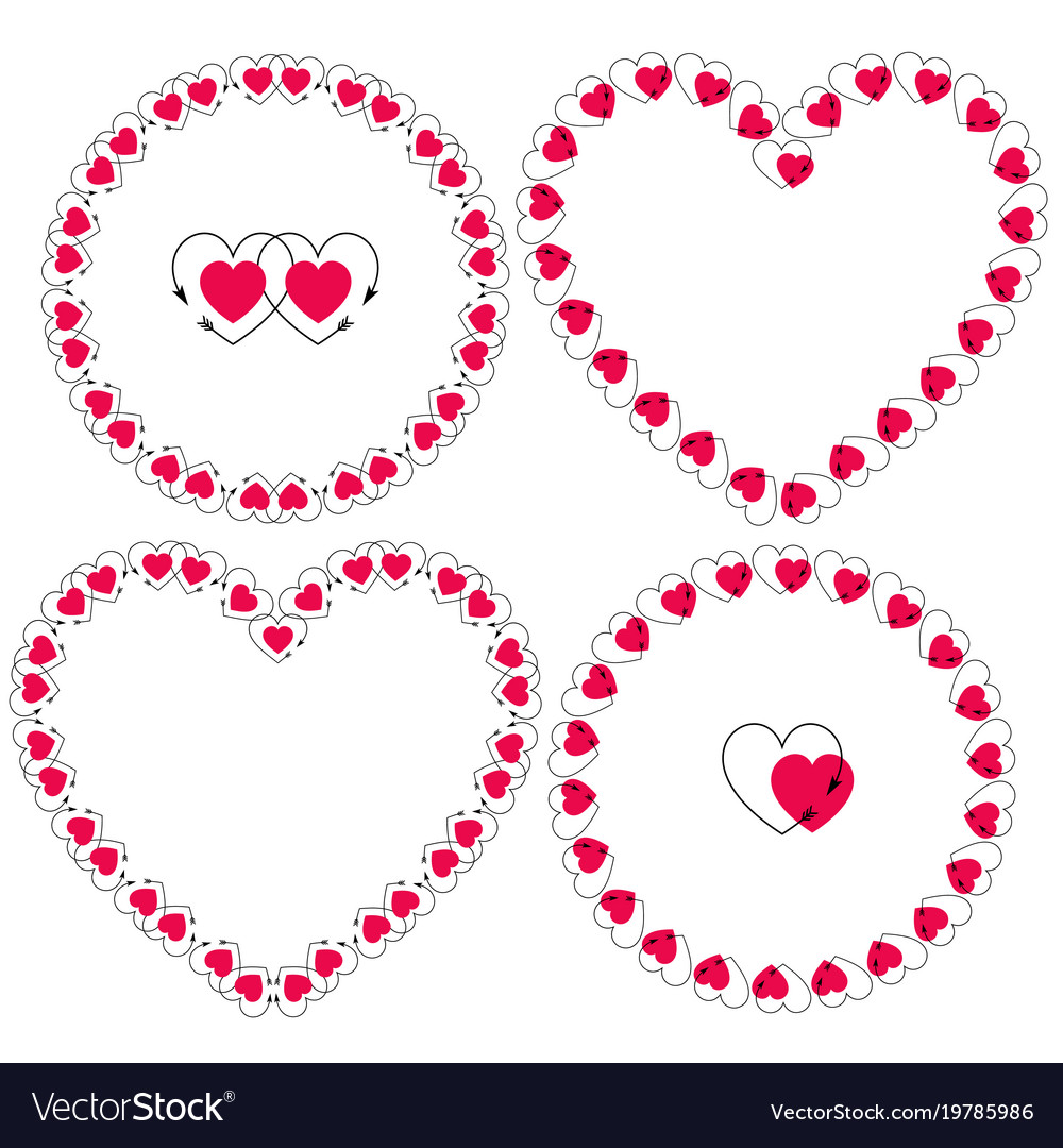 Heart with arrow frames clipart Royalty Free Vector Image
