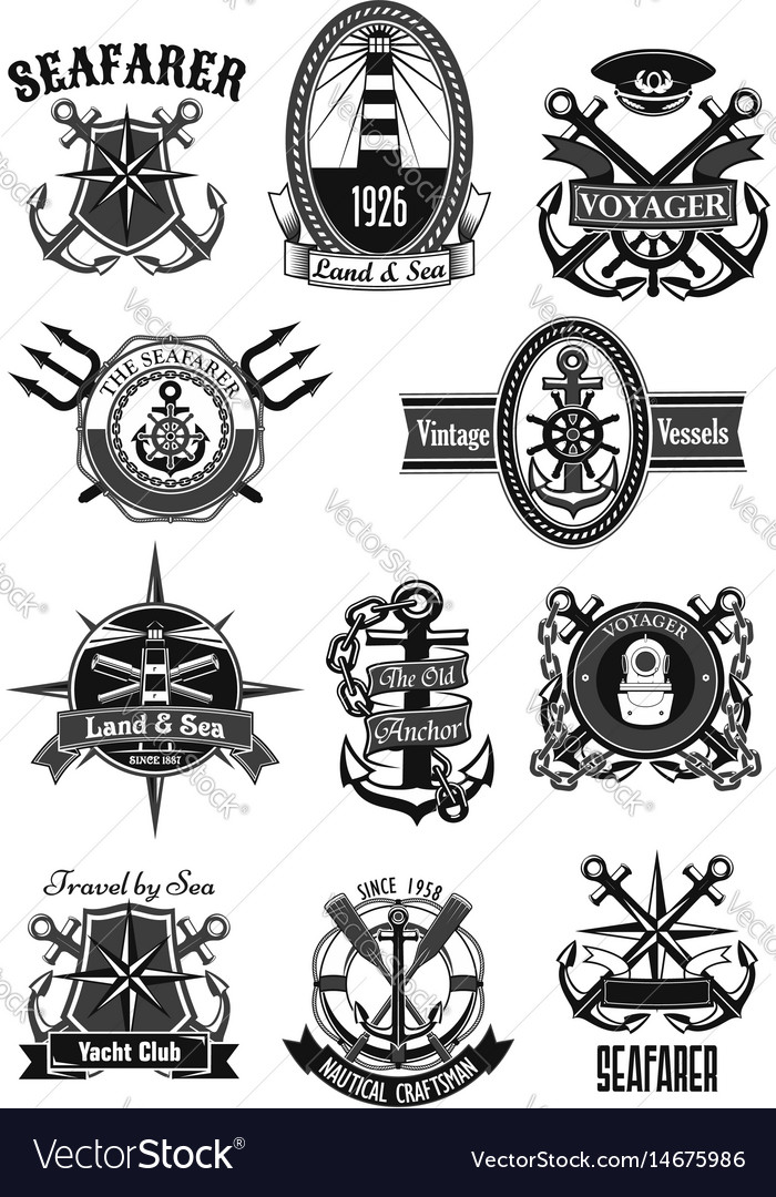 Heraldic icons of nautical marine seafarer