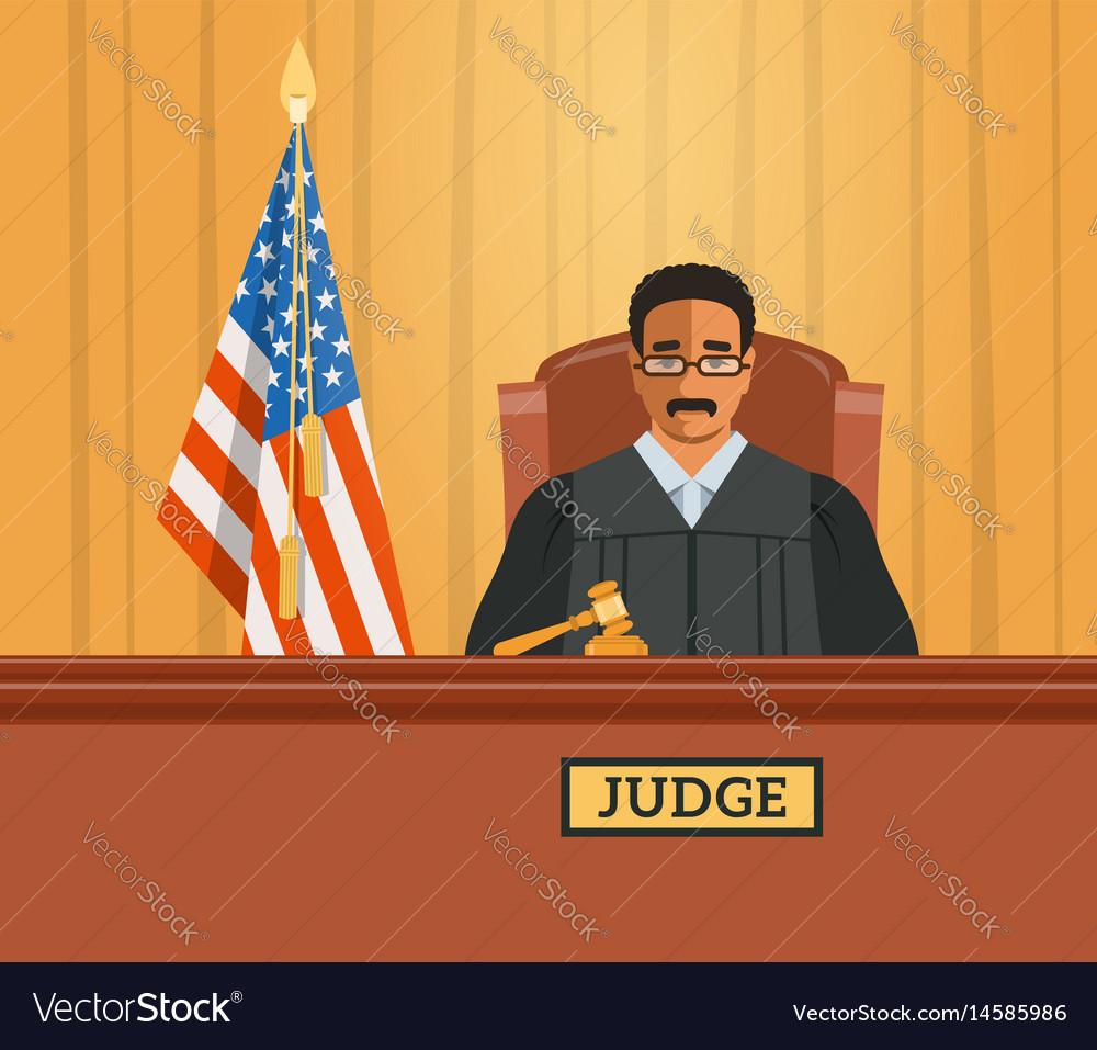 Judge black man in courtroom flat