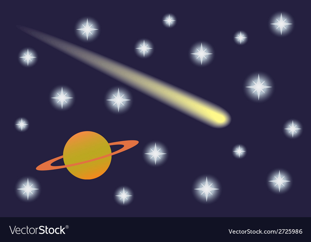Saturn and Comet in the starry sky