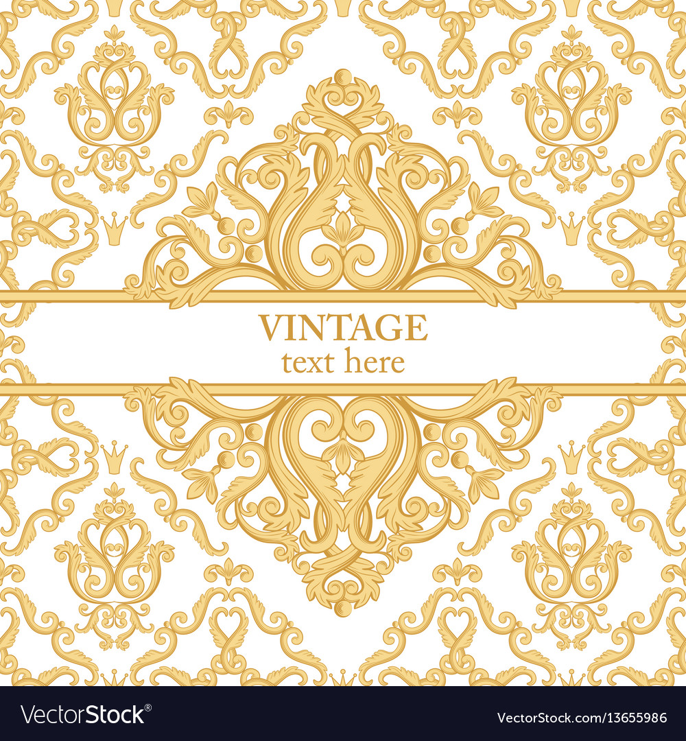 Template card with abstract baroque royal