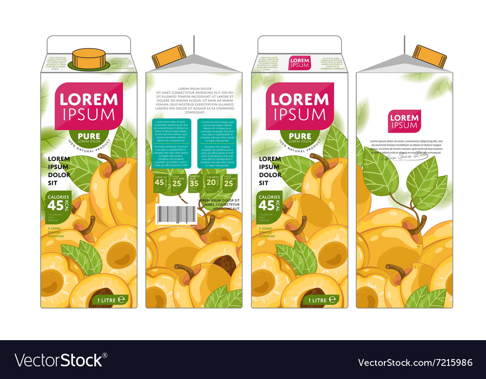 template packaging design apricot juice royalty free vector