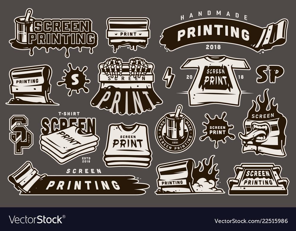 Vintage monochrome screen printing elements set