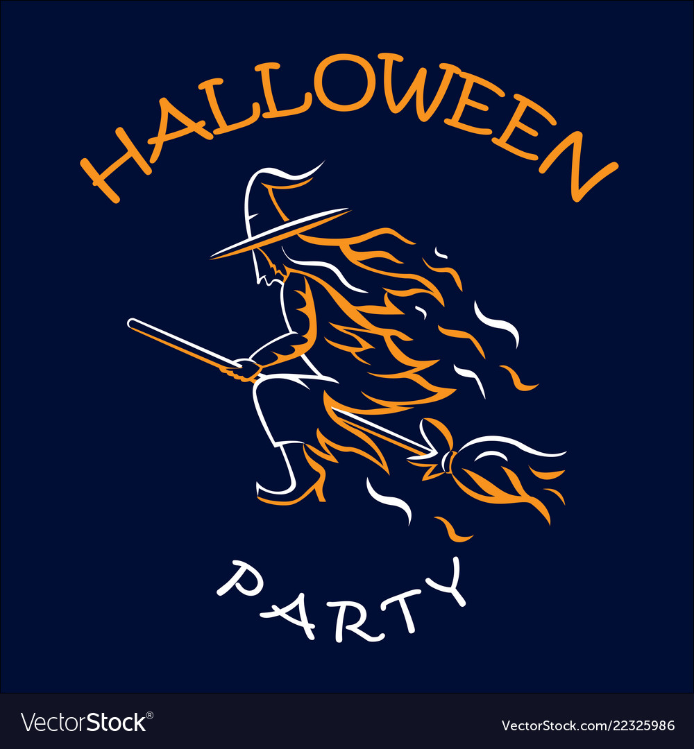 Witch on a broomstick halloween party