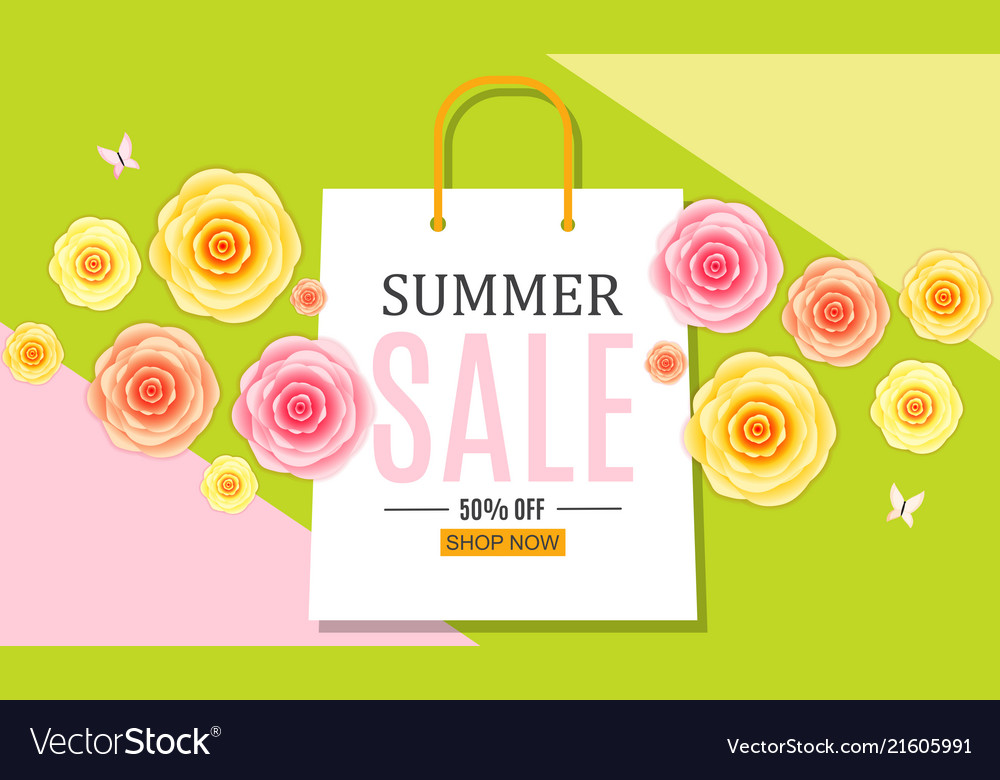 Abstract summer sale background with shopping bag