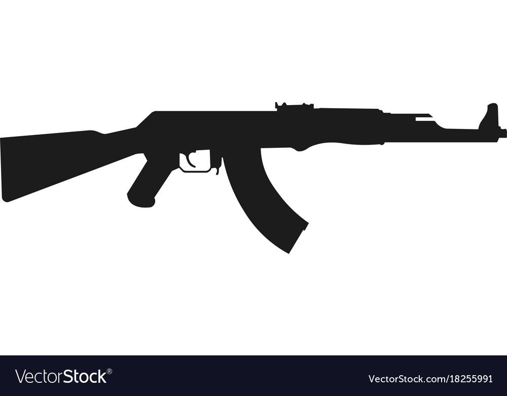 Assault rifle icon isolated on white kalashnikov vector image
