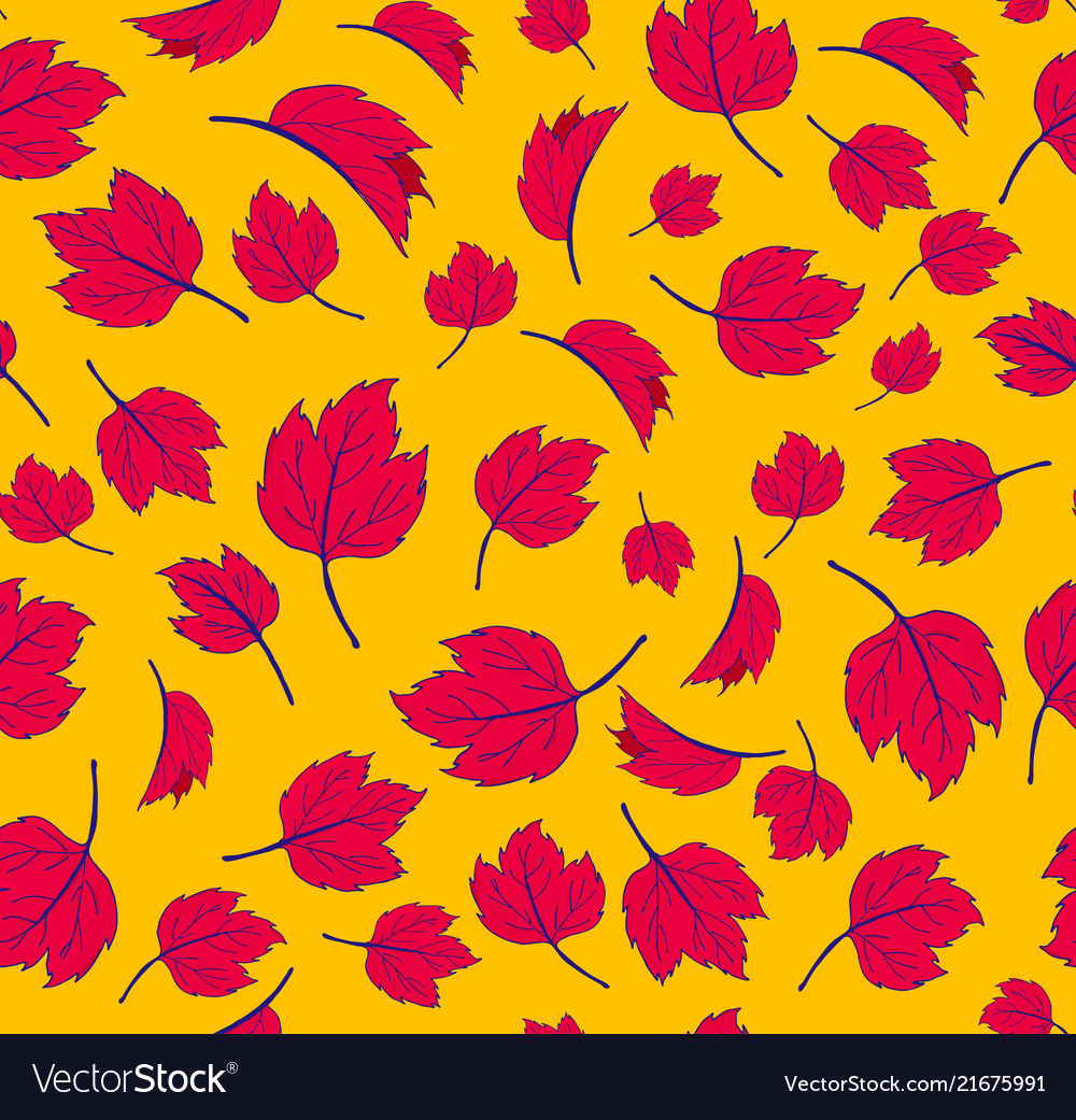 Autumn maple leaves autumnal seamless pattern for