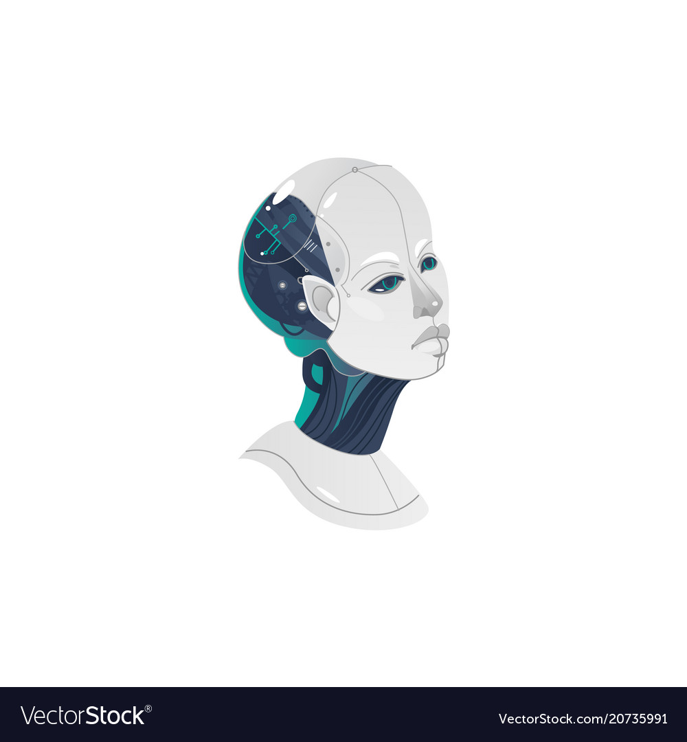 Cartoon woman cyborg head icon