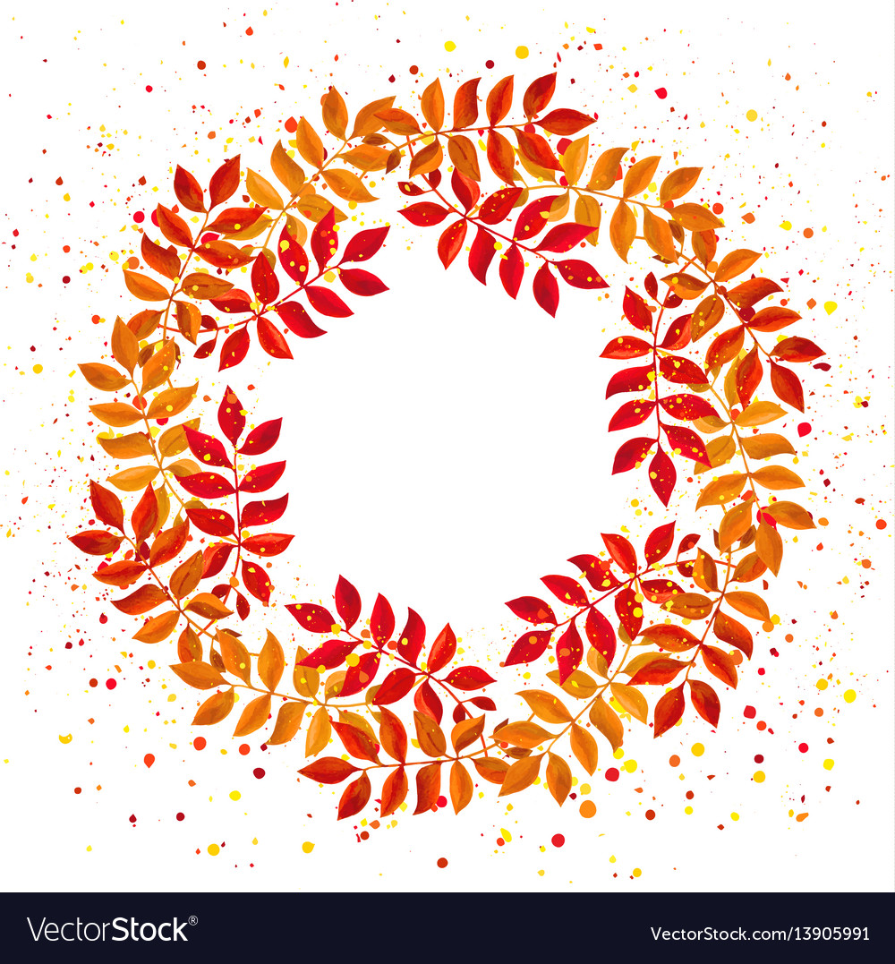 Elegant floral wreath with orange and red leaves