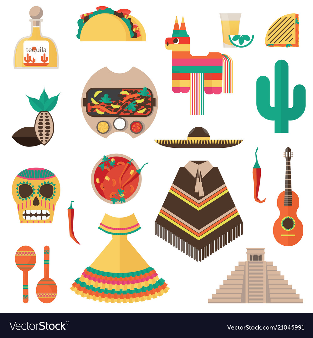 Flat set with mexican theme - tequila shot vector image