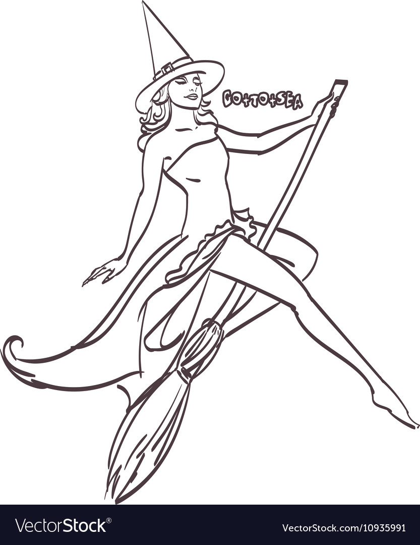 Halloween art design Sexy witch on a broomstick