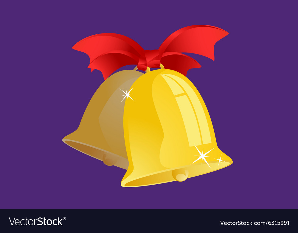 Jingle bells with red ribbon isolated on
