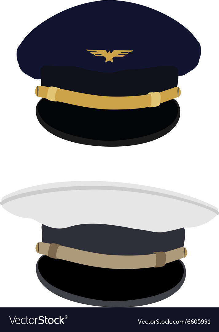 Pilot and navy captain hat vector image