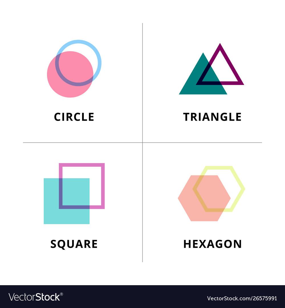 Set logo geometric overlapping isolated on