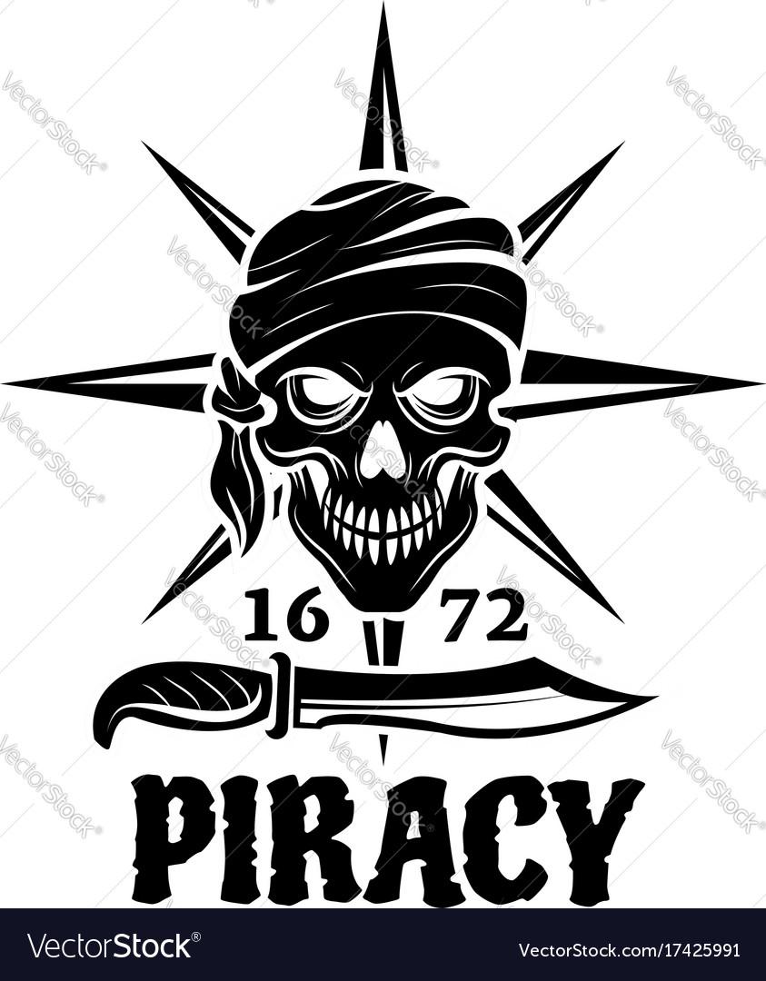 Skull of pirate in bandana icon for tattoo design Vector Image