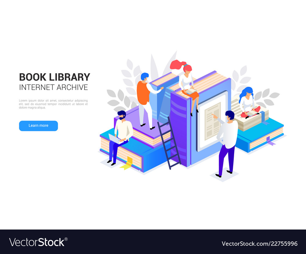 Book library isometric internet archive concept