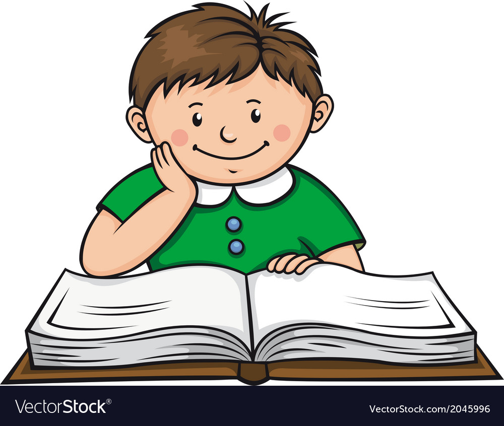 Boy reading a book vector image
