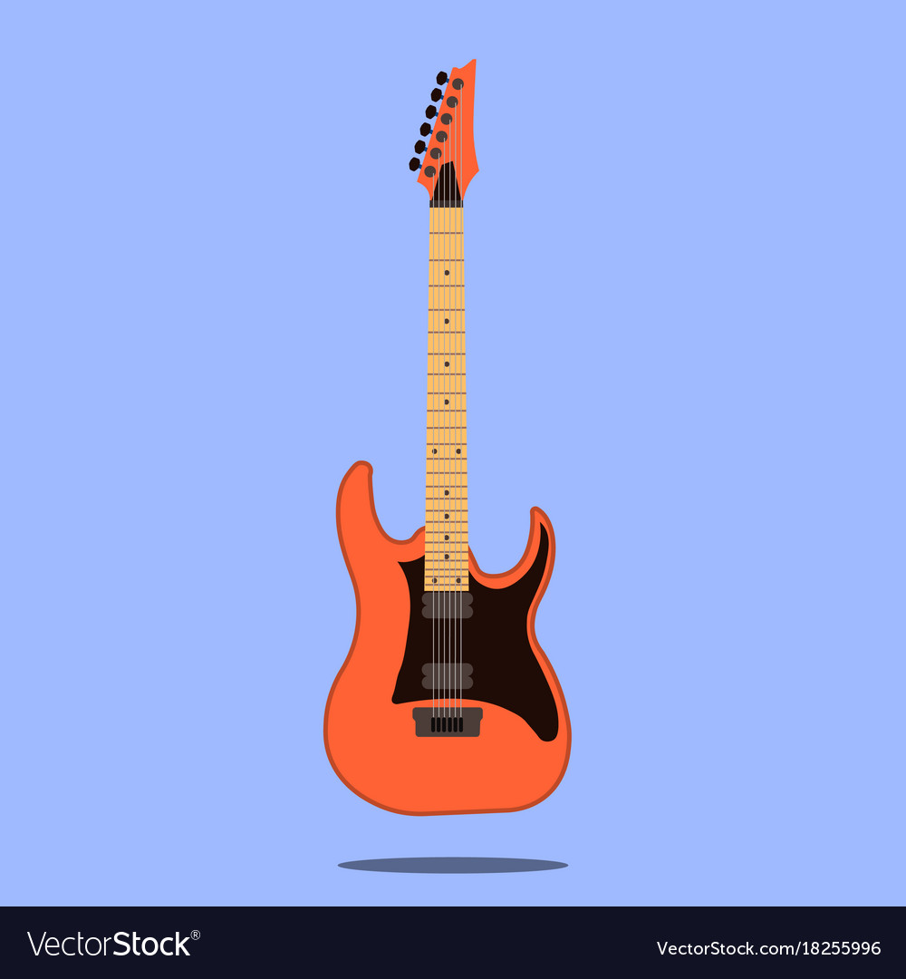 Electric guitar icon isolated on blue background