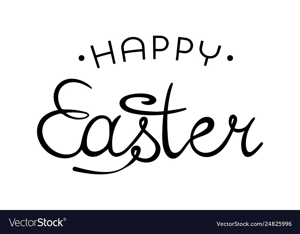 Happy easter creative lettering hand drawn