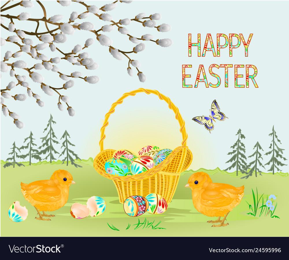 Happy easter spring landscape forest easter chicks