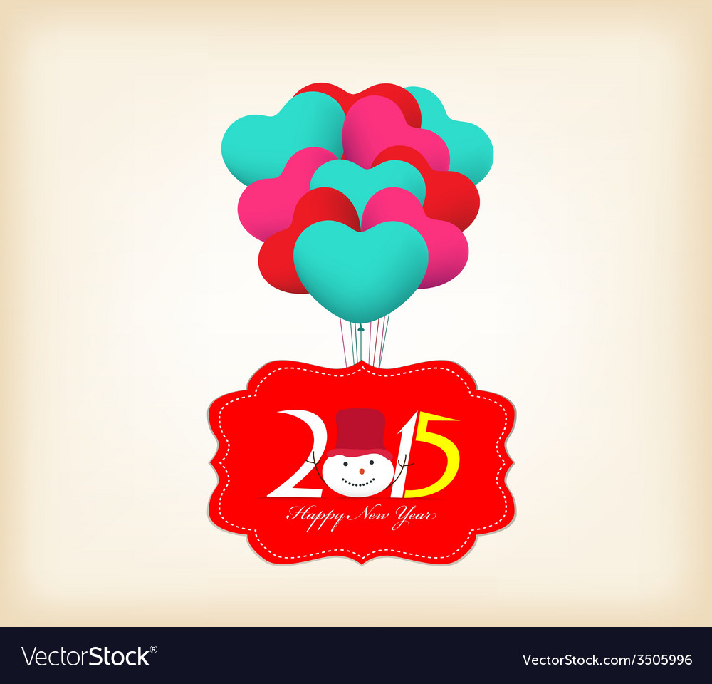 Happy New Year 2015 Greetings With Balloons Fly Vector Image