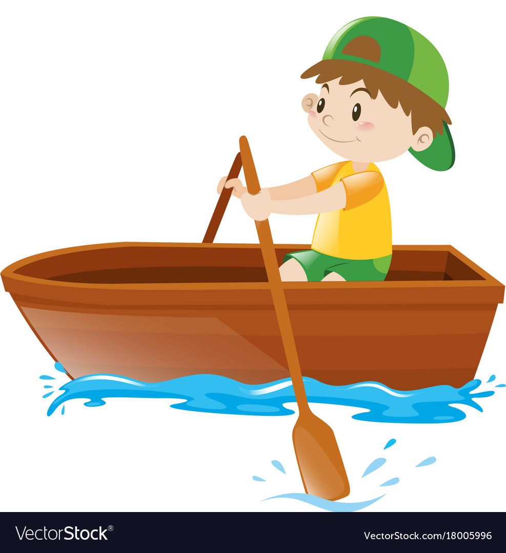 Little boy rowing boat alone Royalty Free Vector Image
