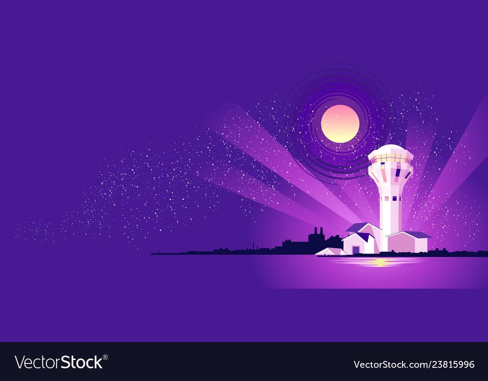 Night landscape lighthouse