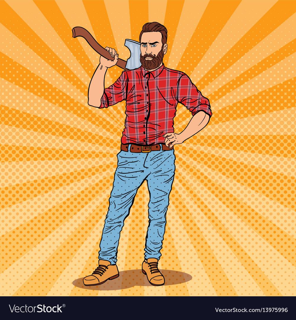 Pop art lumberjack with beard and axe