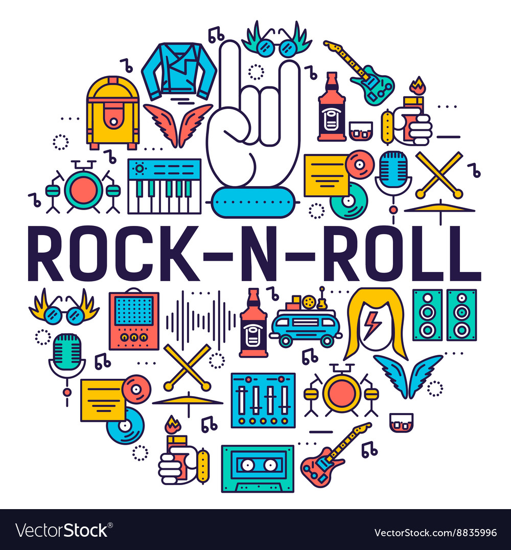 e89a26c44 ROCK N ROLL circle outline icons collection set Vector Image