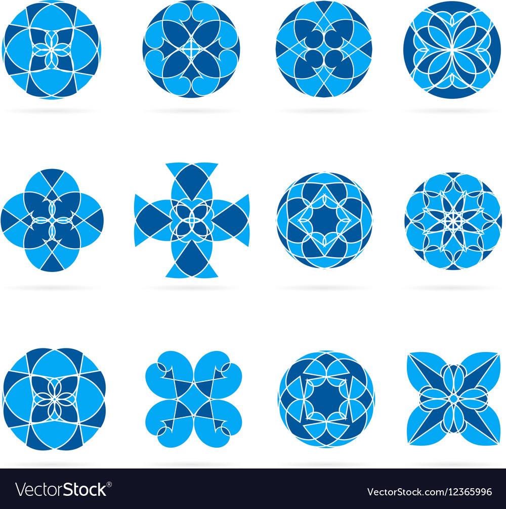 Set of geometric shapes Round blue mosaic vector image