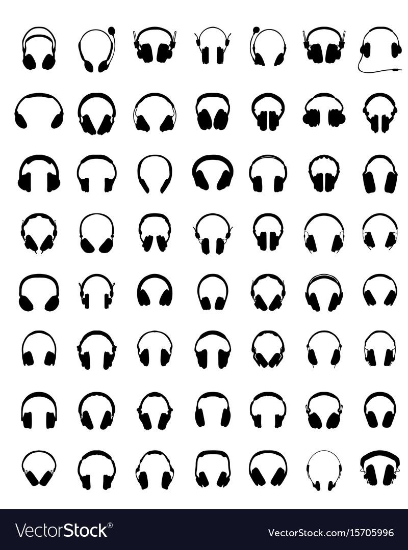 Silhouettes of headphones