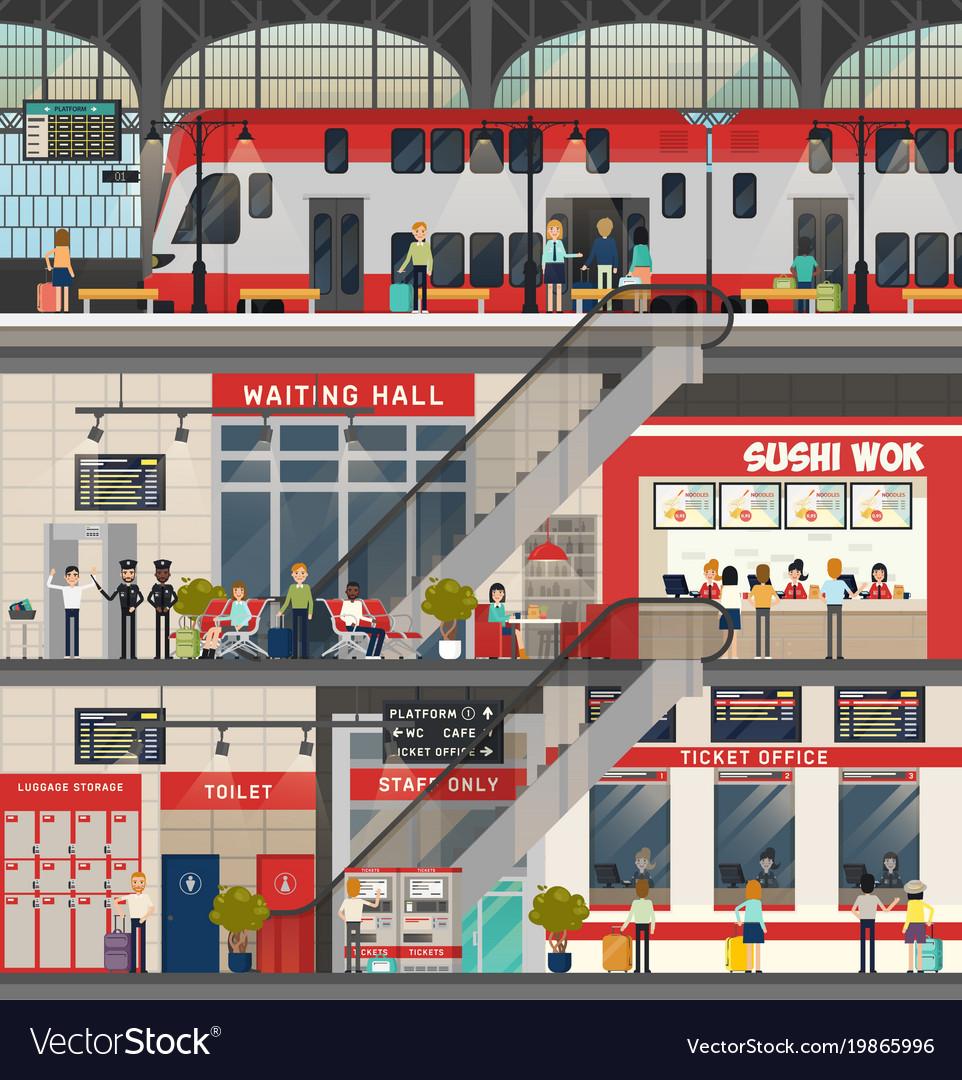 Train or locomotive station metro or subway