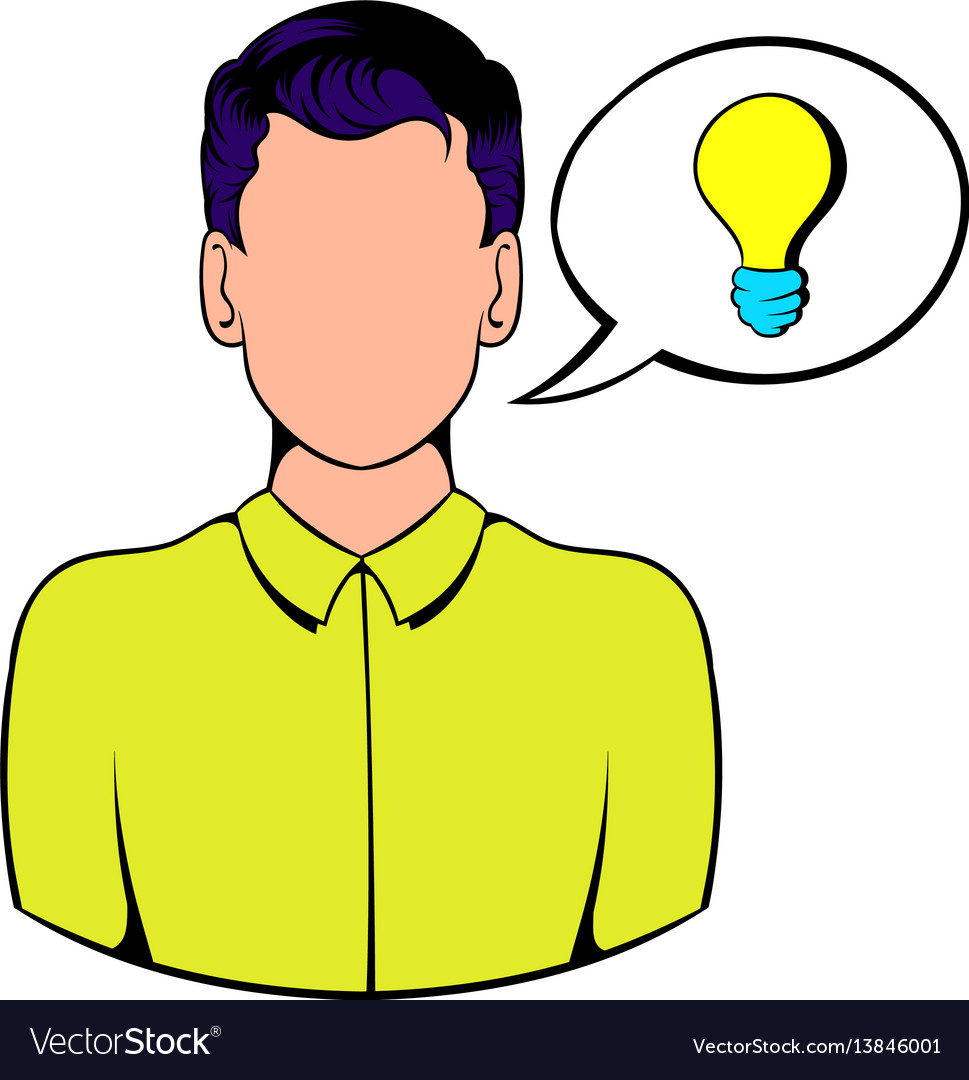 Businessman and speech bubble with a bulb icon
