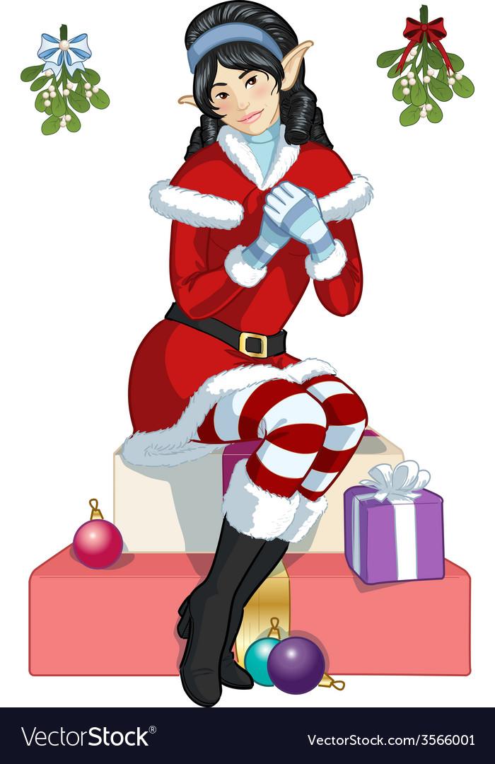 Christmas elf Asian girl with mistletoe cartoon