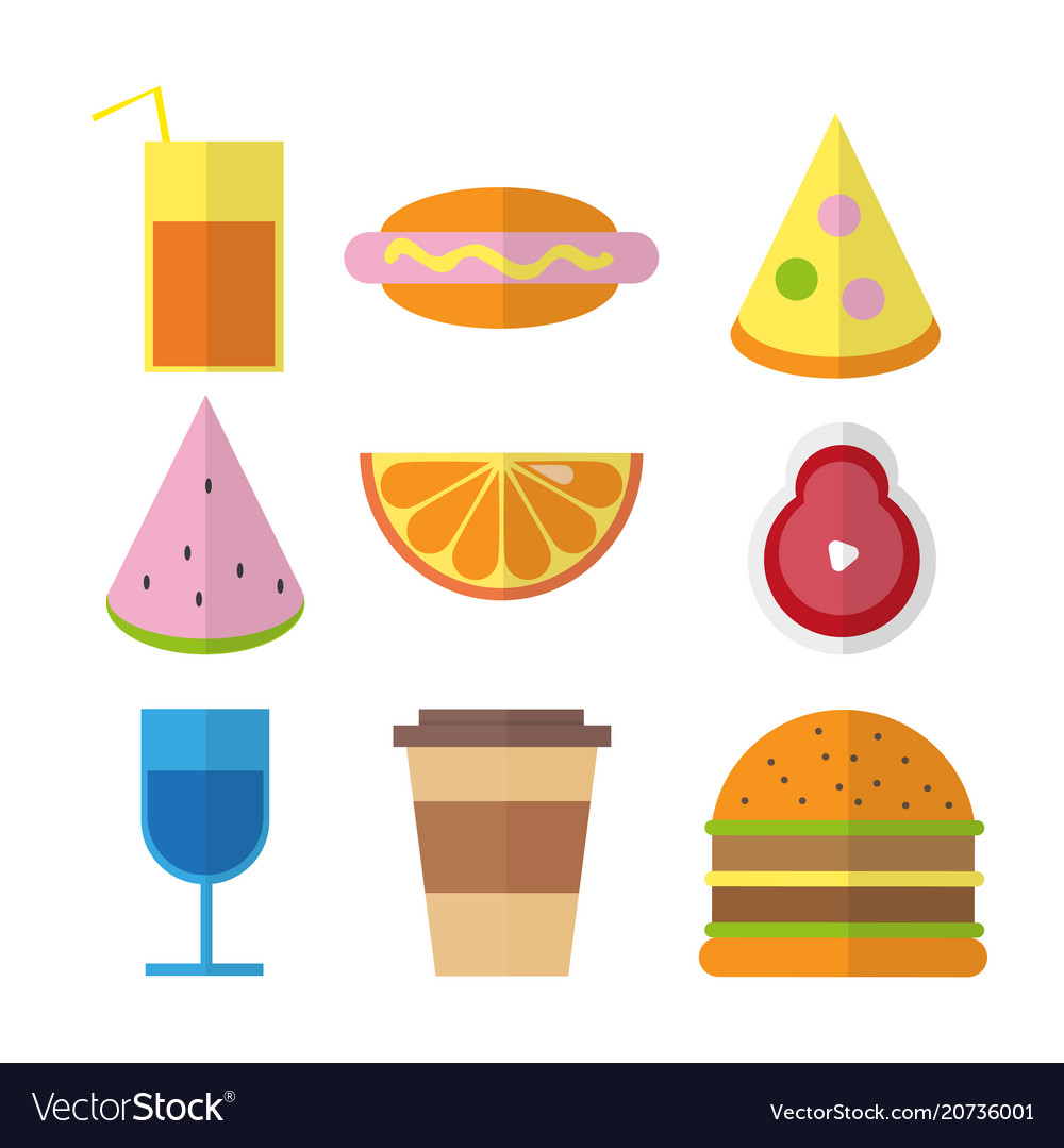 Flat fast food colorful in bright