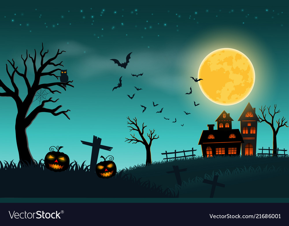 Happy halloween with full moon on green background