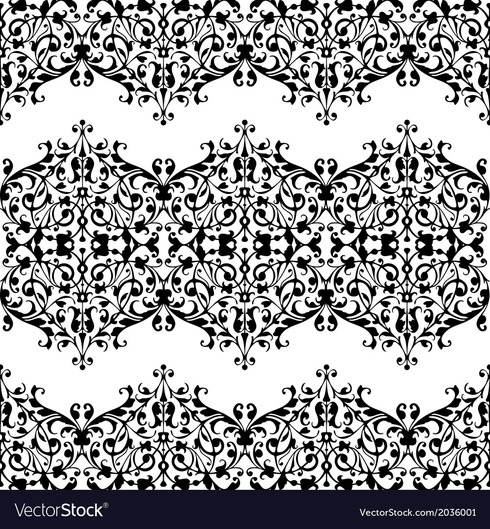 Lace black seamless pattern with flowers on white
