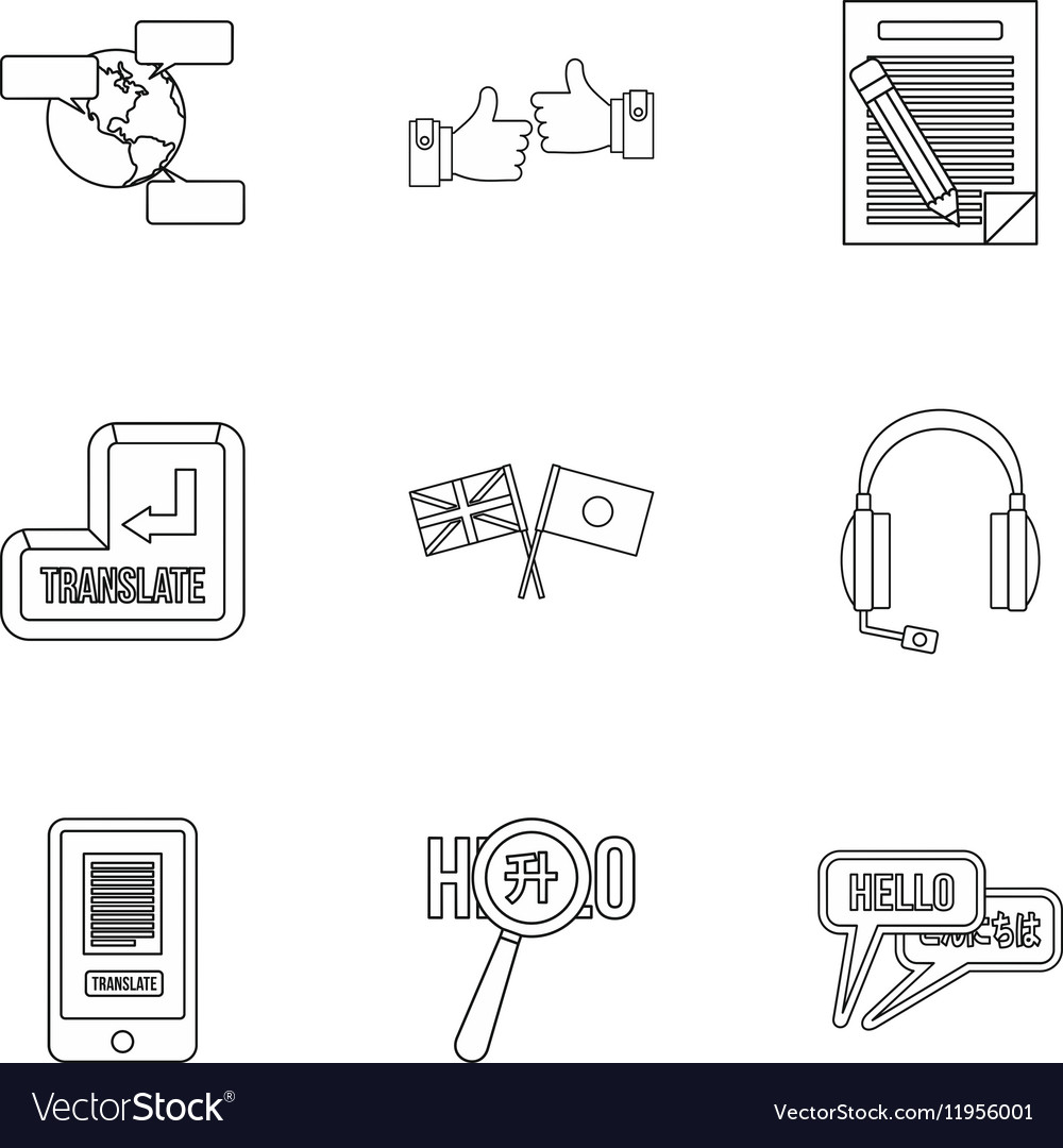 Languages icons set outline style