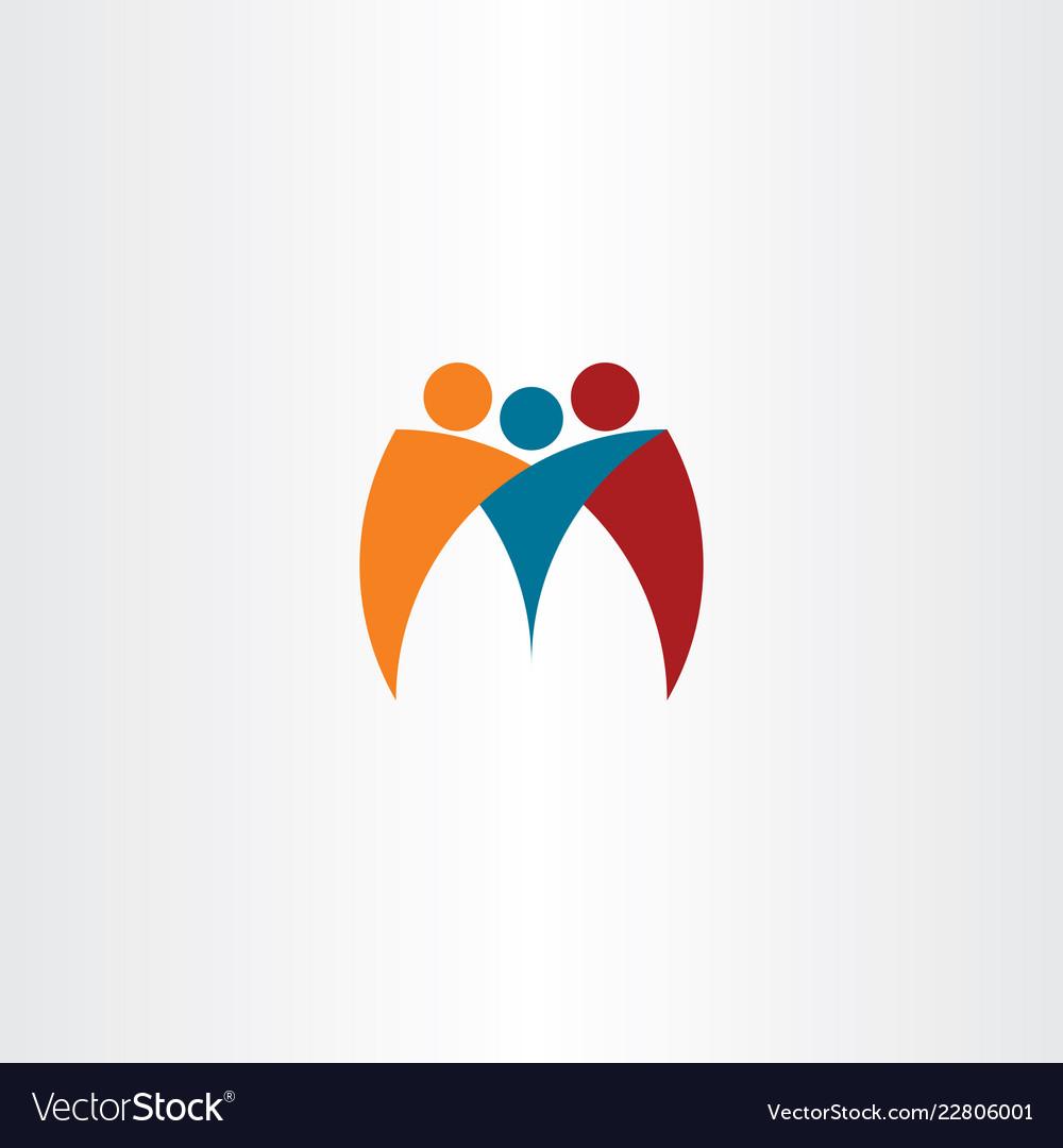 M logo business people team friends logotype icon
