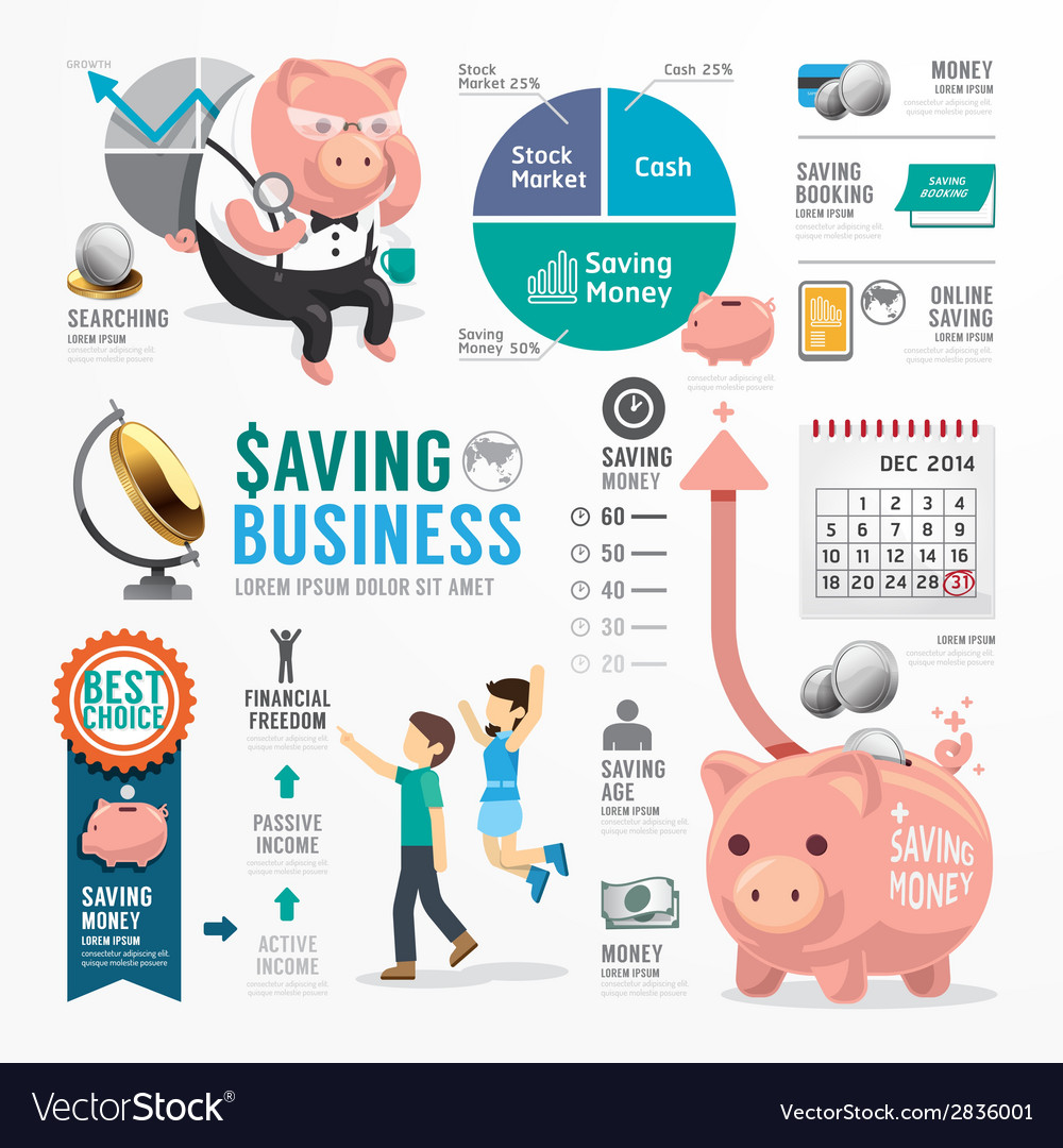 Money Saving Business Template Design Infographic