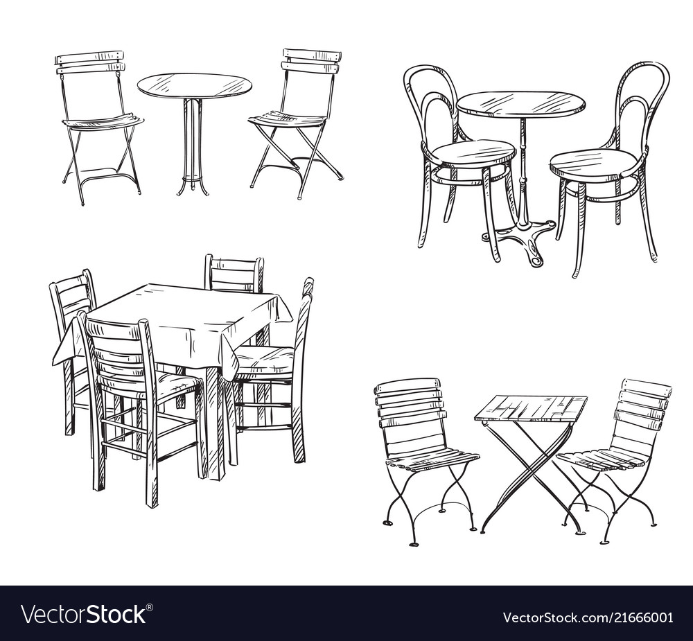 Sets of tables and chairs furniture sketch