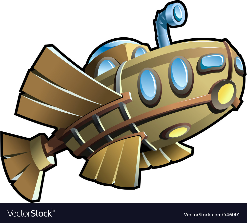 Wooden submarine vector image