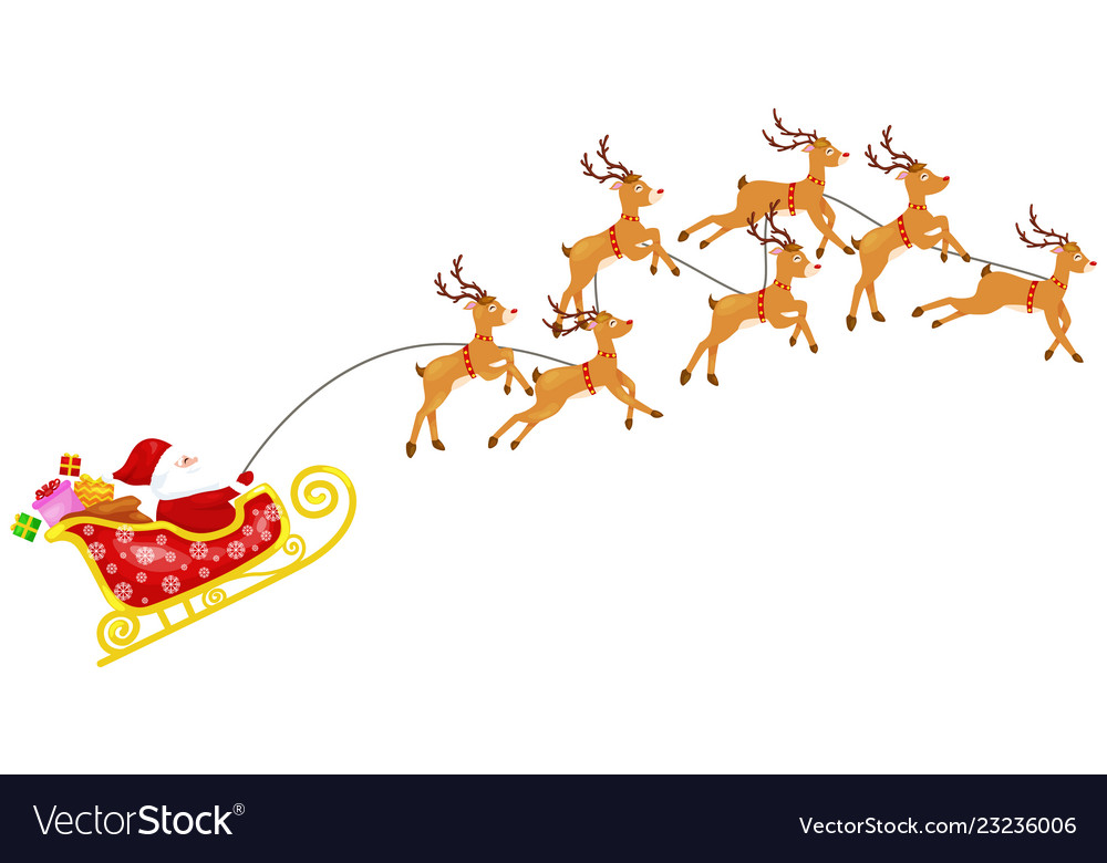 Cartoon santa claus with seven reindeers in