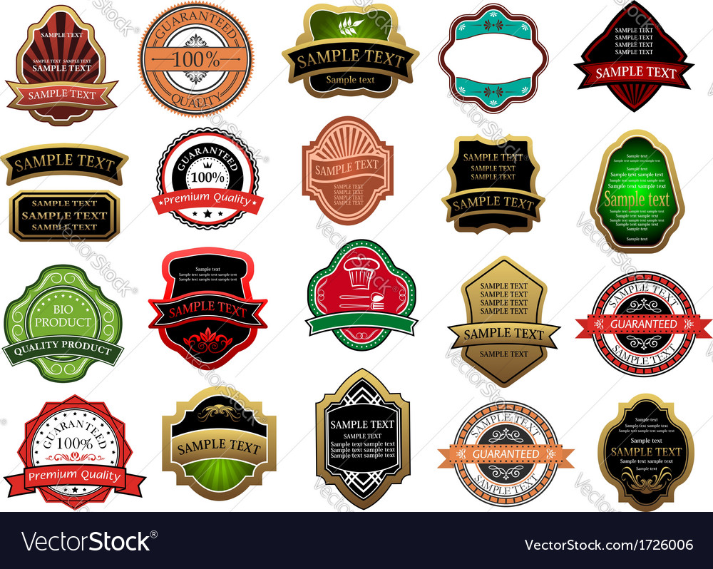 Colorful labels and banners set vector image