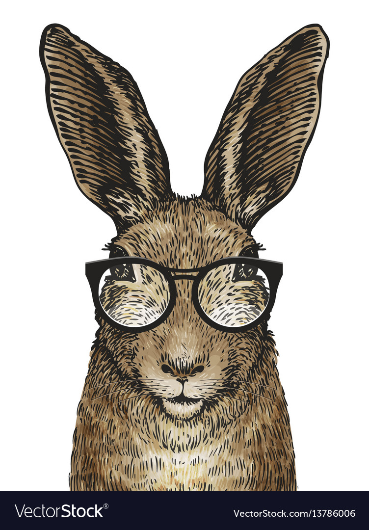 Cute easter bunny with glasses cartoon