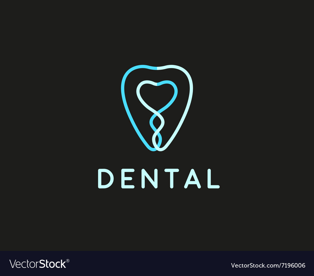 Dentist Logo Design Template Tooth Creative Line Vector Image