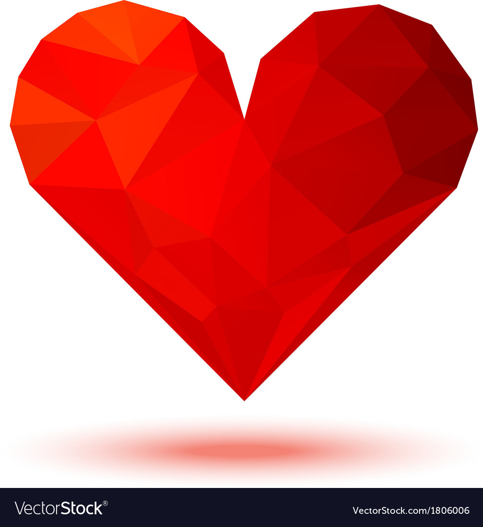 Geometric Red 3d Valentine Heart vector image